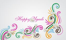 Happy Ugadi doodle. Happy Ugadi Festival. Indian Fest Party celebration. Spring New Year. Watercolor background with mandala. Template with text for creative Royalty Free Stock Images