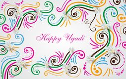 Happy Ugadi Festival. Indian Fest Party celebration. Spring New Year. Watercolor background with mandala. Template with text for creative flyer, banner Royalty Free Stock Photo