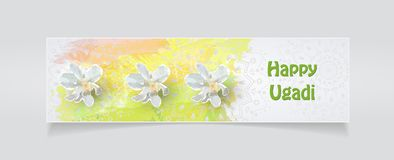 Happy Ugadi card. Happy Ugadi Festival. Indian Fest Party celebration. Spring New Year. Watercolor background with mandala. Template with text for creative flyer Royalty Free Stock Photography