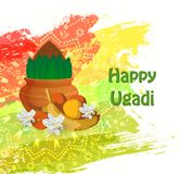 Happy Ugadi card. Happy Ugadi Festival. Indian Fest Party celebration. Spring New Year. Watercolor background with mandala. Template with text for creative flyer Royalty Free Stock Image