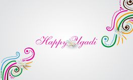 Happy Ugadi doodle card. Happy Ugadi Festival. Indian Fest Party celebration. Spring New Year. Watercolor background with mandala. Template with text for Royalty Free Stock Image