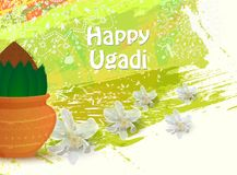 Happy Ugadi card. Happy Ugadi Festival. Indian Fest Party celebration. Spring New Year. Watercolor background with mandala. Template with text for creative flyer Royalty Free Stock Images