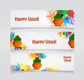 Happy Ugadi flyer. Happy Ugadi Festival. Indian Fest Party celebration. Spring New Year. Watercolor background with mandala. Template with text for creative Royalty Free Stock Photos