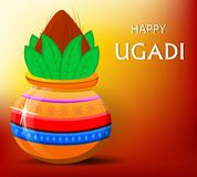 Happy Ugadi greeting card with beautiful decorated Kalash Royalty Free Stock Image