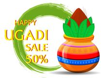 Happy Ugadi greeting card with beautiful decorated Kalash. Royalty Free Stock Images