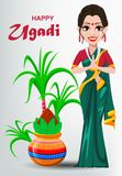 Happy Ugadi greeting card with beautiful Indian woman and decorated Kalash. Traditional Indian holiday. Vector illustration Royalty Free Stock Images