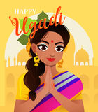 Happy Ugadi. Greeting card for holiday. Character positive Indian girl in greeting pose namaste. Royalty Free Stock Images
