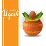 Happy Ugadi and Gudi Padwa Hindu New Year Greeting Card Holiday Pot With Coconut Stock Photos