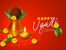 Happy Ugadi holiday composition. Happy Ugadi holiday composition - Hindu New Year festival. Decorated Kalash with coconut, flowers, mango leaves and diya. Red stock illustration