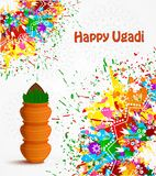 Happy Ugadi holiday. Happy Ugadi Festival. Indian Fest Party celebration. Spring New Year. Watercolor background with mandala. Template with text for creative Royalty Free Stock Photography