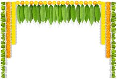 Happy Ugadi indian flower garland with mango leaves. Isolated on white vector illustration