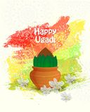 Happy Ugadi logo. Happy Ugadi Festival. Indian Fest Party celebration. Spring New Year. Watercolor background with mandala. Template with text for creative flyer Stock Images