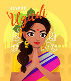 Happy Ugadi. Template greeting card for holiday. Character positive Indian girl in greeting pose namaste. Stock Photo