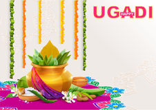 Happy Ugadi. Template greeting card for holiday Ugadi. Gold pot with coconut Stock Photo