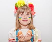 Happy ukrainian girl with two eggs. Happy teen ukrainian girl with hands near face and two eggs Stock Photos