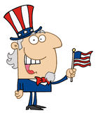 Happy uncle sam. Energetic uncle sam smiling and waving a flag Royalty Free Stock Photography