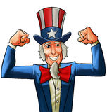Happy uncle Sam. Uncle sam very happy, he got his fists up Stock Photography