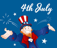Happy Uncle Sam. Conceptual Drawing Art of Cartoon Happy Adult Uncle Sam Character with Vintage 4th of July Greeting Card royalty free illustration