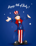Happy Uncle Sam Greeting Card. Cartoon Cheerful Uncle Sam Character Expression on 4th of July Vector Illustration vector illustration