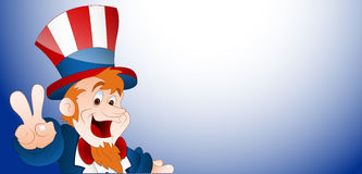 Happy Uncle Sam Vector Banner. Happy Cartoon Uncle Sam Character with 4th of July Banner stock illustration