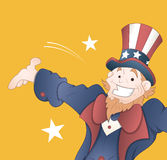 Happy Uncle Sam Vector. Cheerful Old Cartoon Uncle Sam Character Expression Vector Illustration Stock Illustration