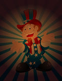 Happy Uncle Sam Vintage Background. Happy Cartoon Uncle Sam Character isolated on Vintage Sunburst Background Vector Illustration Stock Photography
