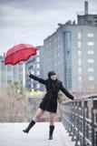 Happy under rain Stock Photo