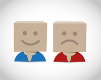 Happy and unhappy box Royalty Free Stock Photo