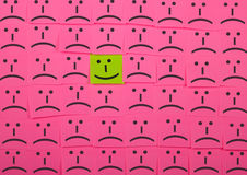 Happy and unhappy concept. Background of Sticky Notes. Stock Photos