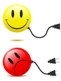 Happy and unhappy smiley face with connector plug Royalty Free Stock Photography