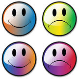 Happy and Unhappy Smiley Faces Royalty Free Stock Images