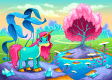 Happy unicorn in a landscape of dreams Stock Photography