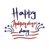 Happy United States Independence Day greeting card. Fireworks, red stripes, blue stars and hand drawn lettering. vector illustration