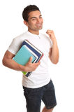 Happy University Student Acceptance. A happy energetic university or college student.  He has a big smile and making a jubilant fist.  Acceptance into uni, exam Stock Photo