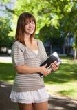 Happy University Student Outdoors Stock Photos