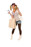 Happy Urban Girl. Out shopping and talking on her cell phone Royalty Free Stock Images