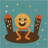 Happy urban strange monster. Vector illustration of happy strange monster in retro colours stock illustration