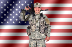 Happy us soldier Stock Images