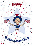 Happy USA Independence Day card. Boy dressed in uncle Sam costume with American flags. Boy dressed in american flag colors on parade. 4th of July national Stock Photo