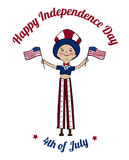 Happy USA Independence Day card. Boy dressed in uncle Sam costume on tilts with American flags. Boy dressed in american flag colors on parade. 4th of July Stock Photos