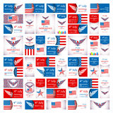 Happy USA Independence Day - Fourth of July - July 4th Vector Set Stock Photos