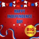 Happy usa independence day, 4th of july. Design for greeting and sale promotion banner template illustration with text. Greeting card celebration of royalty free illustration