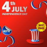 Happy usa independence day, 4th of july. Design for greeting and sale promotion banner template illustration with text. Greeting card celebration of Stock Photo