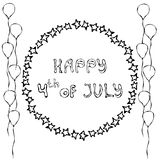 Happy USA Independence Day 4 th July Lettering in a Circle Frame of Stars. With Balloons. Greeting card and poster Design. Realist. Ic Hand Drawn Illustration royalty free illustration