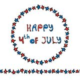 Happy USA Independence Day 4 th July Lettering in a Circle Frame of Stars. Endless Star Ribbon or Brush. Greeting card and poster. Design. Realistic Hand Drawn Royalty Free Stock Photos