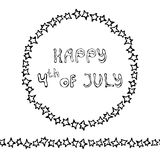 Happy USA Independence Day 4 th July Lettering in a Circle Frame of Stars. Endless Star Ribbon or Brush. Greeting card and poster. Design. Realistic Hand Drawn stock illustration