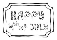 Happy USA Independence Day 4 th July Lettering in a Frame. Greeting card and poster Design. Realistic Hand Drawn Illustration. Sav. Happy USA Independence Day 4 stock illustration
