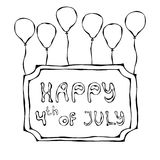 Happy USA Independence Day 4 th July Lettering in a Frame. Greeting card and poster Design. Realistic Hand Drawn Illustration. Sav. Happy USA Independence Day 4 vector illustration