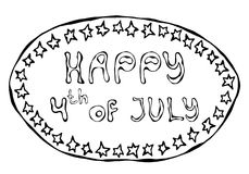 Happy USA Independence Day 4 th July Lettering in a Frame. Greeting card and poster Design. Realistic Hand Drawn Illustration. Sav. Happy USA Independence Day 4 royalty free illustration