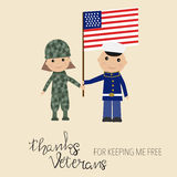 Happy USA veteran day background hand lettering kids in military Royalty Free Stock Image